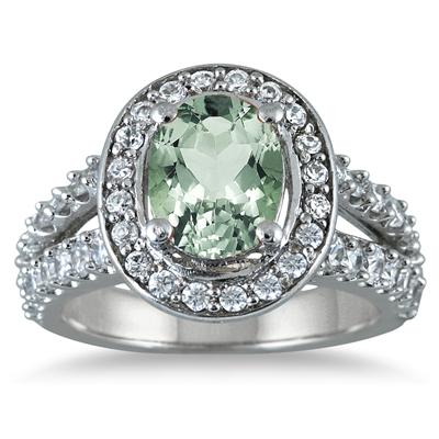 2.00 Carat TW Oval  Green Amethyst and Diamond Ring in 14K White Gold