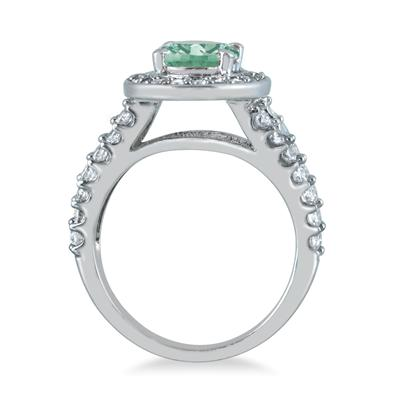 2 Carat TW Oval  Green Amethyst and Diamond Ring in 14K White Gold