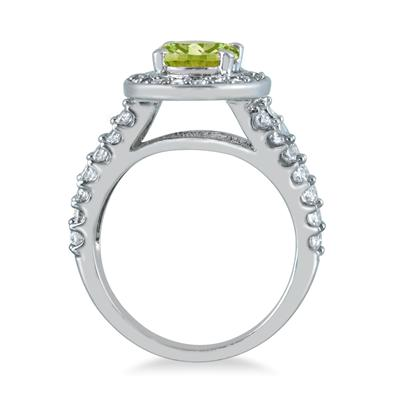 2.00 Carat TW Oval Peridot and Diamond Ring in 14K White Gold