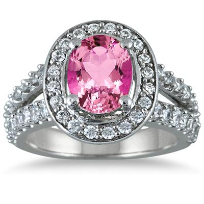 2.00 Carat TW Oval Pink Topaz and Diamond Ring in 14K White Gold