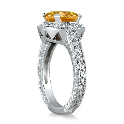 3 Carat Citrine and Diamond Ring in 10K White Gold