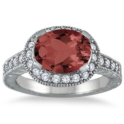 3.00 Carat Garnet and Diamond Ring in 10K White Gold