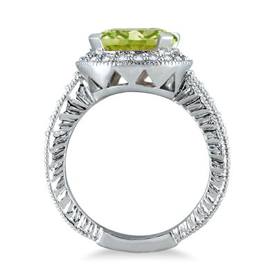 3 Carat Peridot and Diamond Ring in 10K White Gold