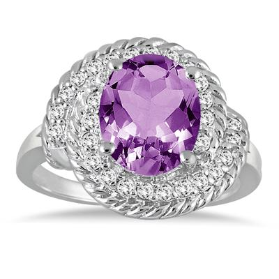 3.00 Carat Amethyst and Diamond Ring in 10K White Gold