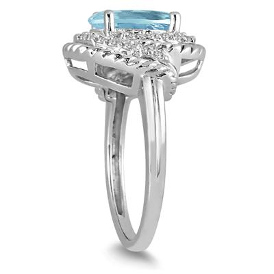 3.00 Carat Aquamarine and Diamond Ring in 10K White Gold