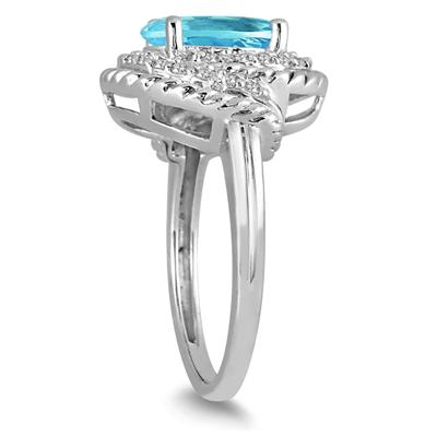 3.00 Carat Blue Topaz and Diamond Ring in 10K White Gold