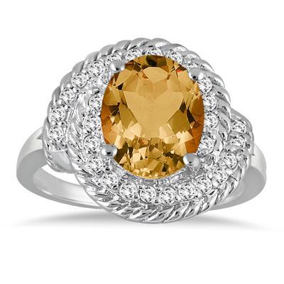 3.00 Carat Citrine and Diamond Ring in 10K White Gold