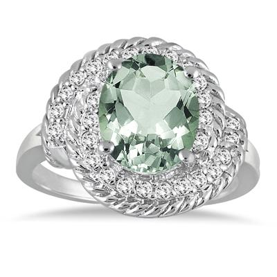 3.00 Carat Green Amethyst and Diamond Ring in 10K White Gold