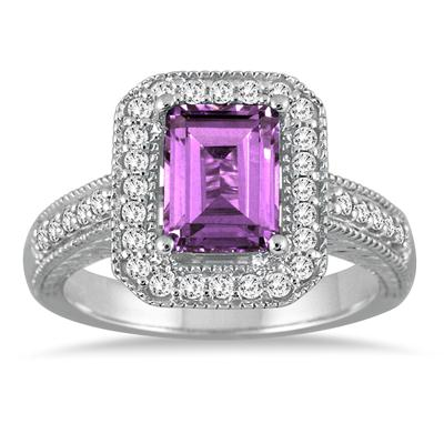 1 3/4 Carat Emerald Cut Amethyst  and Diamond Ring in 14k White Gold