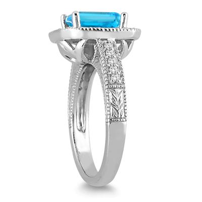 1.75 Carat Emerald Cut Blue Topaz and Diamond Ring in 14k White Gold