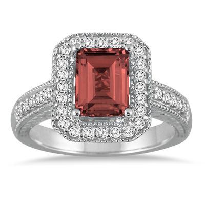 1.70 Carat Emerald Cut Garnet and Diamond Ring in 14k White Gold