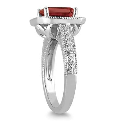 1.70 Carat Emerald Cut Garnet and Diamond Ring in 14k White Gold