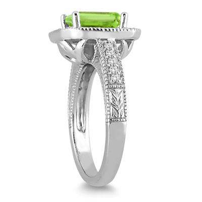 1.75 Carat Emerald Cut Peridot and Diamond Ring in 14k White Gold