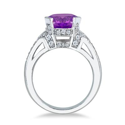 5.00 Carat Amethyst and Diamond Ring in 10K White Gold