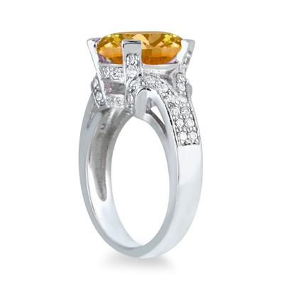 5.00 Carat Citrine and Diamond Ring in 10K White Gold