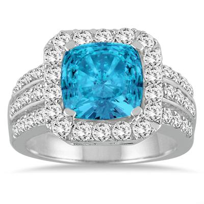 4.00 Carat TW Cushion Cut Blue Topaz and Diamond Ring in 14K White Gold