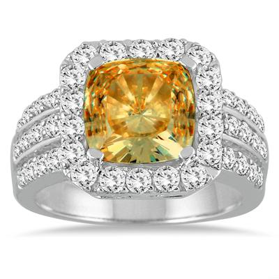 4.00 Carat TW Cushion Cut Citrine and Diamond Ring in 14K White Gold