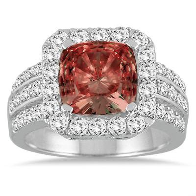 4.00 Carat TW Cushion Cut  Garnet and Diamond Ring in 14K White Gold