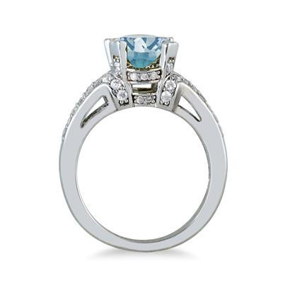 3.00 Carat Oval Aquamarine and Diamond Ring in 10K White Gold