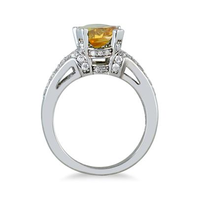 3.00 Carat Oval Citrine and Diamond Ring in 10K White Gold