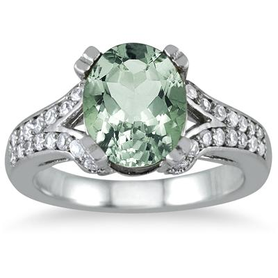 3 Carat Oval Green Amethyst and Diamond Ring in 10K White Gold