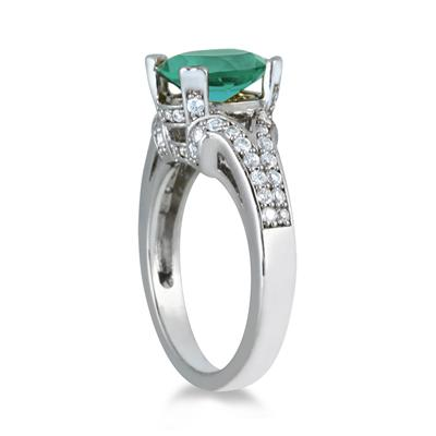 3.00 Carat Oval Green Amethyst and Diamond Ring in 10K White Gold