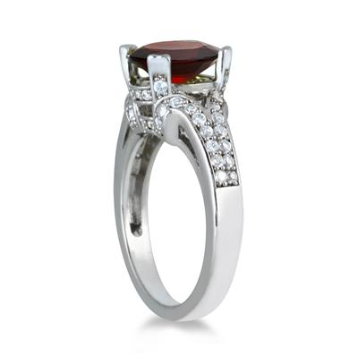 3.00 Carat Oval Garnet and Diamond Ring in 10K White Gold