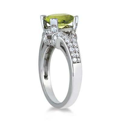 3 Carat Oval Peridot and Diamond Ring in 10K White Gold