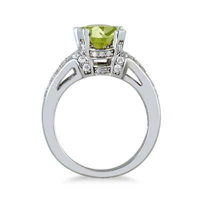 3.00 Carat Oval Peridot and Diamond Ring in 10K White Gold