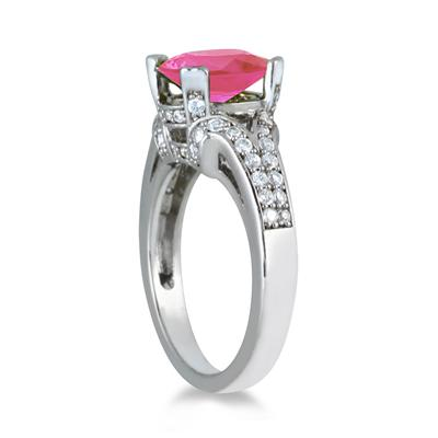 3.00 Carat Oval Pink Topaz and Diamond Ring in 10K White Gold