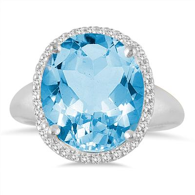 7 Carat Oval Blue Topaz and Diamond Ring in 14K White Gold