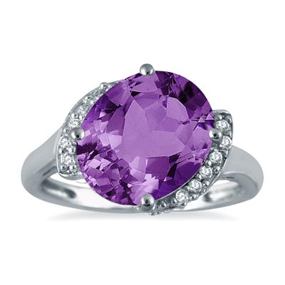 4.50 Carat Oval Amethyst and Diamond Ring in 14K White Gold