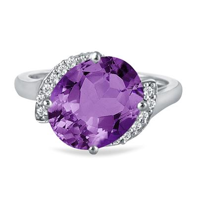 4 1/2 Carat Oval Amethyst and Diamond Ring in 14K White Gold