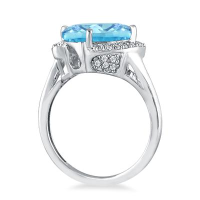 4 1/2 Carat Oval Blue Topaz and Diamond Ring in 14K White Gold
