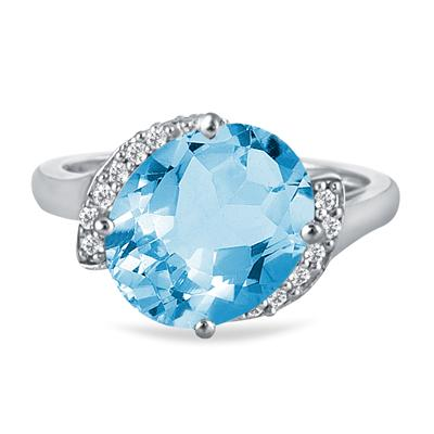 4.50 Carat Oval Blue Topaz and Diamond Ring in 14K White Gold