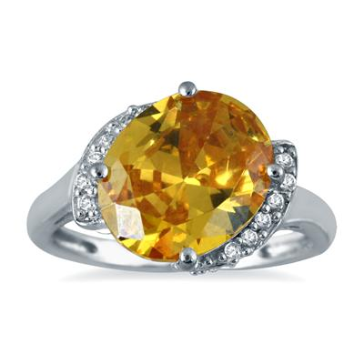 4 1/2 Carat Oval Citrine and Diamond Ring in 14K White Gold