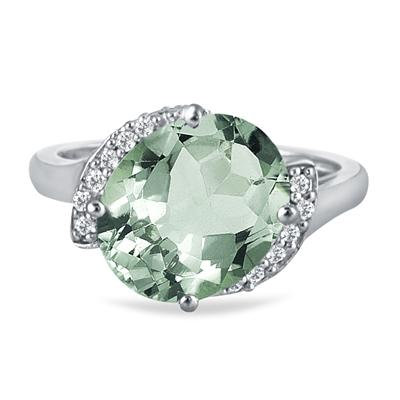 4 1/2 Carat Oval Green Amethyst and Diamond Ring in 14K White Gold