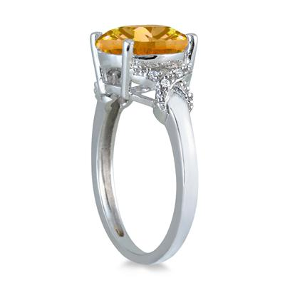3.50 Carat Round Citrine and Diamond Ring in 10K White Gold