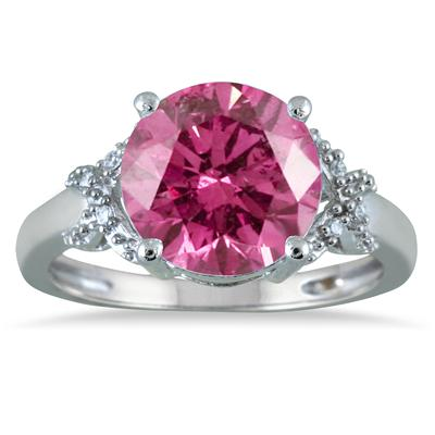 3.50 Carat Round Pink Topaz and Diamond Ring in 10K White Gold