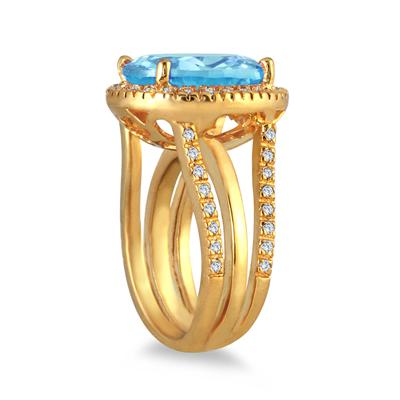 7 1/2 Carat Oval Cut Blue Topaz and Diamond Ring in 14K Yellow Gold