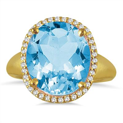 7 Carat Oval Blue Topaz and Diamond Ring in 14K Yellow Gold