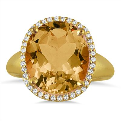 7 Carat Oval Citrine and Diamond Ring in 14K Yellow Gold
