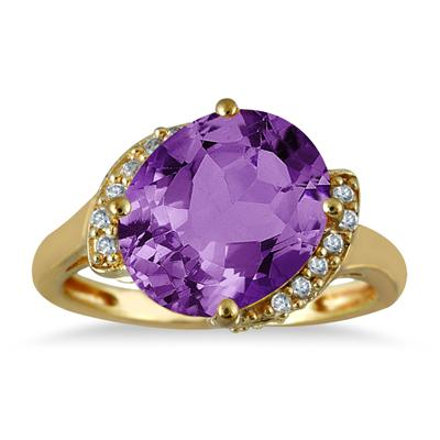 4.50 Oval Amethyst and Diamond Ring in 14K Yellow Gold