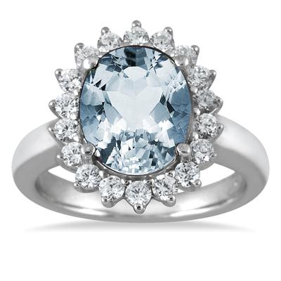 4.00 Carat Aquamarine and Diamond Ring in 14K White Gold