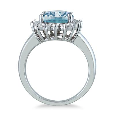 4 Carat Aquamarine and Diamond Ring in 14K White Gold