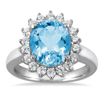 4.00 Carat Blue Topaz and Diamond Ring in 14K White Gold