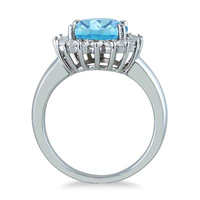 4 Carat Blue Topaz and Diamond Ring in 14K White Gold
