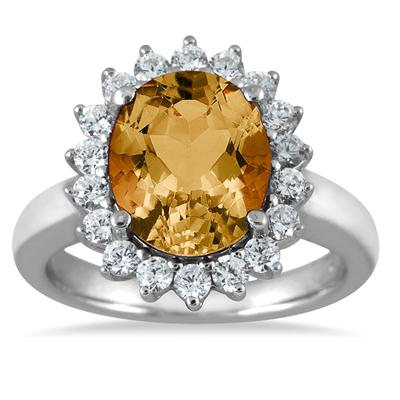 4.00 Carat Citrine and Diamond Ring in 14K White Gold