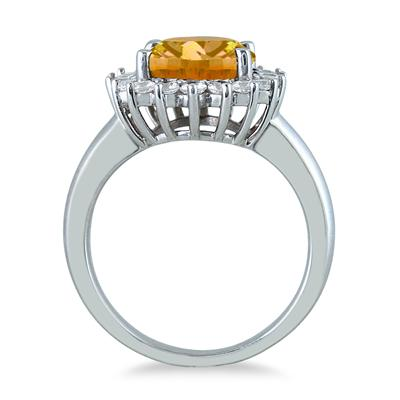 4 Carat Citrine and Diamond Ring in 14K White Gold
