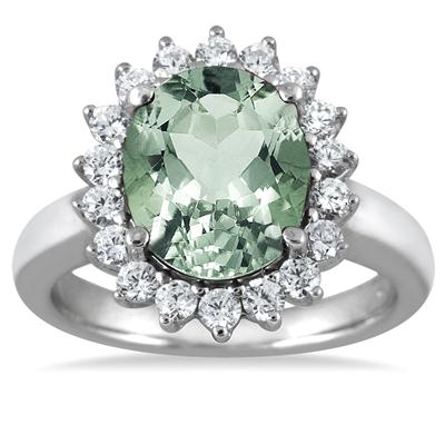 4.00 Carat Green Amethyst and Diamond Ring in 14K White Gold